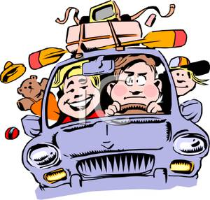 A_Colorful_Cartoon_Vacationing_Family_Packed_Into_a_Car_Traveling_Royalty_Free_Clipart_Picture_100917-166006-917053