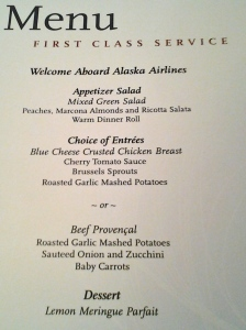 The First Class menu we did not partake in