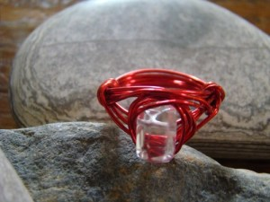 Crystal Clear Glass Wrapped in Red Wire LSJayHandmade 2014