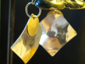 Silver Diamond With Copper Disc Earrings LSJayHomemade 2014