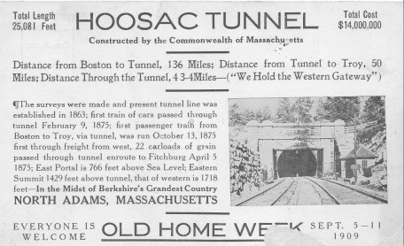 An old Postcard from 1909 advertising a Hoosac Tunnel excursion. HoosacTunnel.net